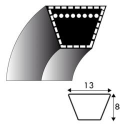 Courroie trapézoïdale A100 - 13 mm x 2590 mm