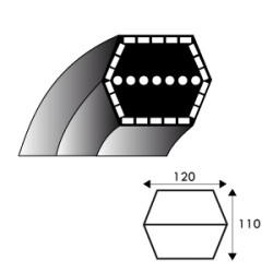 Courroie hexagonale AA105 - 12.7 mm x 2720 mm - Husqvarna 532165555 - 532180217 - AYP - BERNARD LOISIRS 165555 - 180217