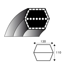 Courroie hexagonale AA108 - 12.7 mm x 2794 mm