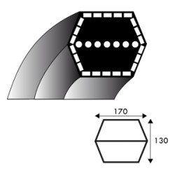 Courroie hexagonale AA73 - 12.7 mm x 1908 mm - MURRAY 1001223 - 690071 - 710232 - SNAPPER 1-8232 / 2-2252 / 7018326 / 7022252