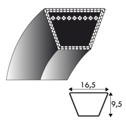 Courroie LB45 - 16.5 mm x 1143 mm